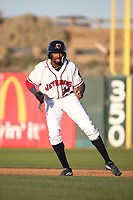 Wes Rogers (24) of the Lancaster JetHawks leads off of first base during a game against the Lake Elsinore Storm at The Hanger on June 12, 2017 in Lancaster, California. Lancaster defeated Lake Elsinore, 13-6. (Larry Goren/Four Seam Images)