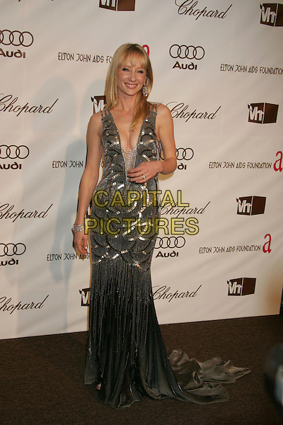 ANNE HECHE.The 14th Annual Elton John AIDS Foundation Oscar Party, Co-hosted by Audi, Chopard and VH1 - Red Carpet, held at the Pacific Design Center, Hollywood, California, USA..Photo: Russ Elliot/Admedia/Capital Pictures .Ref: RE/ADM.full length grey gray silver dress plunging neckline.www.capitalpictures.com.sales@capitalpictures.com.© Capital Pictures.