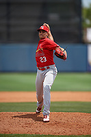 Palm Beach Cardinals relief pitcher Junior Fernandez (23) during a Florida State League game against the Charlotte Stone Crabs on April 14, 2019 at Charlotte Sports Park in Port Charlotte, Florida.  Palm Beach defeated Charlotte 5-3.  (Mike Janes/Four Seam Images)