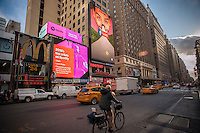 Advertising for the music streaming service Spotify in New York on Thursday, December 15, 2016. Spotify is reported to be preparing to go public in 2017. In its ten years of operation Spotify has never shown a profit.  (© Richard B. Levine)