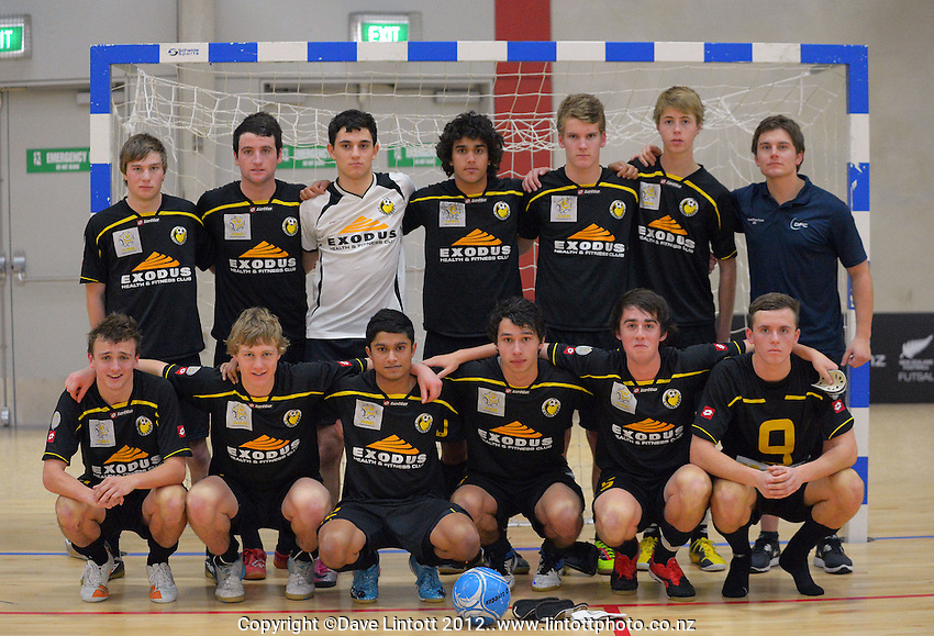The Capital team pose for a team photo after the Mainland v Capital 19s final of the ASB Futsal National Junior Festival and Youth Championships at the ASB Sports Centre, Kilbirnie, Wellington, New Zealand on Monday, 9 July 2012. Photo: Dave Lintott / lintottphoto.co.nz