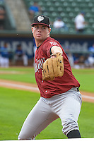 Idaho Falls Chukars starting pitcher Carter Hope (26) of the Idaho Falls Chukars warms up in the bullpen before the game against the Ogden Raptors in Pioneer League action at Lindquist Field on August 26, 2015 in Ogden, Utah. Ogden defeated the Chukars 5-1.  (Stephen Smith/Four Seam Images)