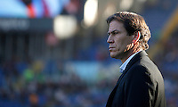 Calcio, Serie A: Roma vs Lazio. Roma, stadio Olimpico, 8 novembre 2015.<br /> Roma's coach Rudi Garcia waits for the start of the Italian Serie A football match between Roma and Lazio at Rome's Olympic stadium, 8 November 2015.<br /> UPDATE IMAGES PRESS/Isabella Bonotto