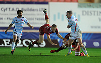 Racing 92 Finn Russell breaks through the Scarlets defence<br /> <br /> Photographer Ian Cook/CameraSport<br /> <br /> European Rugby Champions Cup - Scarlets v Racing 92 - Saturday 13th October 2018 - Parc y Scarlets - Llanelli<br /> <br /> World Copyright © 2018 CameraSport. All rights reserved. 43 Linden Ave. Countesthorpe. Leicester. England. LE8 5PG - Tel: +44 (0) 116 277 4147 - admin@camerasport.com - www.camerasport.com