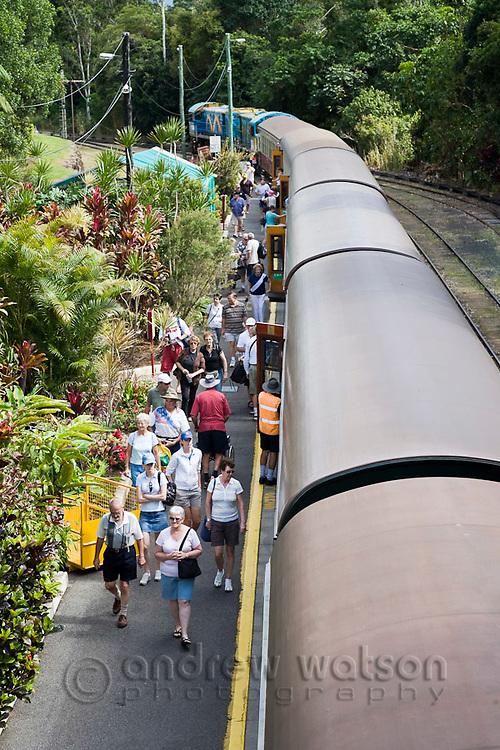 Passengers disembark from the Kuranda Scenic Railway at Kuranda Station.  Kuranda, Cairns, Queensland, Australia