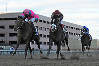 Jackson Bend (no. 2), ridden by Corey Nakatani and trained by Nick Zito, wins the 112th running of the grade 1 Carter Handicap for three year olds and upward on April 07, 2012 at Aqueduct Race Track in Ozone Park, New York.  (Bob Mayberger/Eclipse Sportswire)