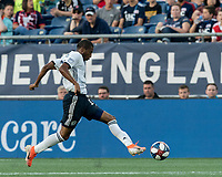 FOXBOROUGH, MA - JUNE 26: Raymon Gaddis #28 attempts to control the ball during a game between Philadelphia Union and New England Revolution at Gillette Stadium on June 26, 2019 in Foxborough, Massachusetts.