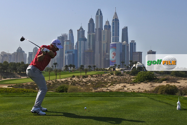 Lucas Herbert (AUS) on the 8th tee during Round 3 of the Omega Dubai Desert Classic, Emirates Golf Club, Dubai,  United Arab Emirates. 26/01/2019<br /> Picture: Golffile | Thos Caffrey<br /> <br /> <br /> All photo usage must carry mandatory copyright credit (&copy; Golffile | Thos Caffrey)