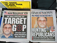 New York tabloid newspapers use the same mugshot of James Hodgkinson on Thursday, June 15, 2017, killed by police after shooting Republican members of Congress as they practiced for a softball game. (© Richard B. Levine)