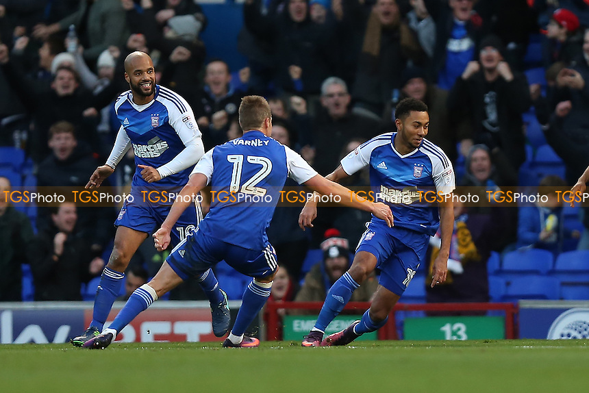 Grant Ward of Ipswich Town (R) scores the first goal for his team and celebrates during Ipswich Town vs Queens Park Rangers, Sky Bet EFL Championship Football at Portman Road on 26th November 2016