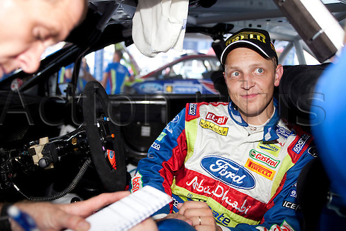JYVASKYLA, FINLAND - JULY 29: Mikko Hirvonen of Finland pictured on the pit area of the WRC Rally Finland on July 29, 2010 in Jyvaskyla, Finland.