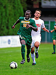 12 September 2010: University of Vermont Catamount defender Yannick Lewis, a Junior from Toronto, Ontario, in action against the Cornell University Big Red at Centennial Field in Burlington, Vermont. The Catamounts defeated the Big Red 2-1. Mandatory Credit: Ed Wolfstein Photo