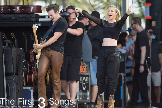 Kimberly Perry and Reid Perry of The Band Perry perform onstage during The Tortuga Music Festival in Fort Lauderdale, Florida.