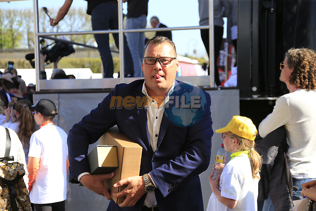 Wilfried Peeters Directeur Sportive Quick-Step Floors at the Team Presentation for the upcoming 115th edition of the Paris-Roubaix 2017 race held in Compiegne, France. 8th April 2017.<br /> Picture: Eoin Clarke | Cyclefile<br /> <br /> <br /> All photos usage must carry mandatory copyright credit (&copy; Cyclefile | Eoin Clarke)