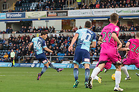 Scott Kashket of Wycombe Wanderers scores a goal during the Sky Bet League 2 match between Wycombe Wanderers and Hartlepool United at Adams Park, High Wycombe, England on 26 November 2016. Photo by Andy Rowland / PRiME Media Images.