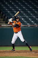 Bowie Baysox Mason McCoy (5) at bat during an Eastern League game against the Richmond Flying Squirrels on August 15, 2019 at Prince George's Stadium in Bowie, Maryland.  Bowie defeated Richmond 4-3.  (Mike Janes/Four Seam Images)