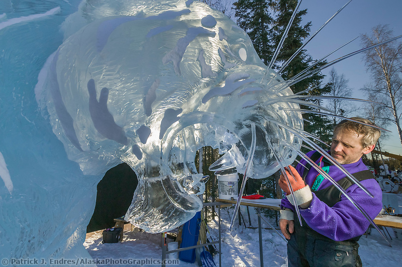 Ice sculptor Steve Brice adds whiskers to the face of a tiger in the 2004 World Ice Art Championships in Fairbanks, Alaska