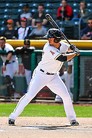 Todd Cunningham (9) of the Salt Lake Bees at bat against the El Paso Chihuahuas in Pacific Coast League action at Smith's Ballpark on April 24, 2016 in Salt Lake City, Utah. This was Game 2 of a double-header.  Salt Lake defeated El Paso 6-5. (Stephen Smith/Four Seam Images)