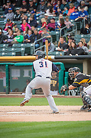 Nevin Ashley (31) of the Colorado Springs Sky Sox at bat against the Salt Lake Bees in Pacific Coast League action at Smith's Ballpark on May 22, 2015 in Salt Lake City, Utah.  (Stephen Smith/Four Seam Images)