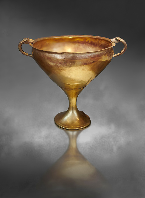 Mycenaean gold goblet with two handles ening with a dogs head biting the rim,  Acropolis Treasure of Mycenae, Greece, National Archaeological Museum of Athens.  <br /> <br />  Grey art Background This goblet was found as part of a hoard looted in antiquity from Grave Circle A and buried outside the enclosure. 15th century BC
