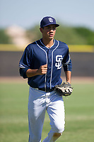 San Diego Padres outfielder Agustin Ruiz (68) jogs off the field between innings during an Instructional League game against the Texas Rangers on September 20, 2017 at Peoria Sports Complex in Peoria, Arizona. (Zachary Lucy/Four Seam Images)