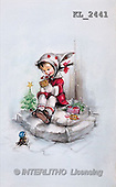 Interlitho, CHRISTMAS SANTA, SNOWMAN, nostalgic, paintings, girl, bird, tree(KL2441,#X#) Weihnachten, nostalgisch, Navidad, nostálgico, illustrations, pinturas