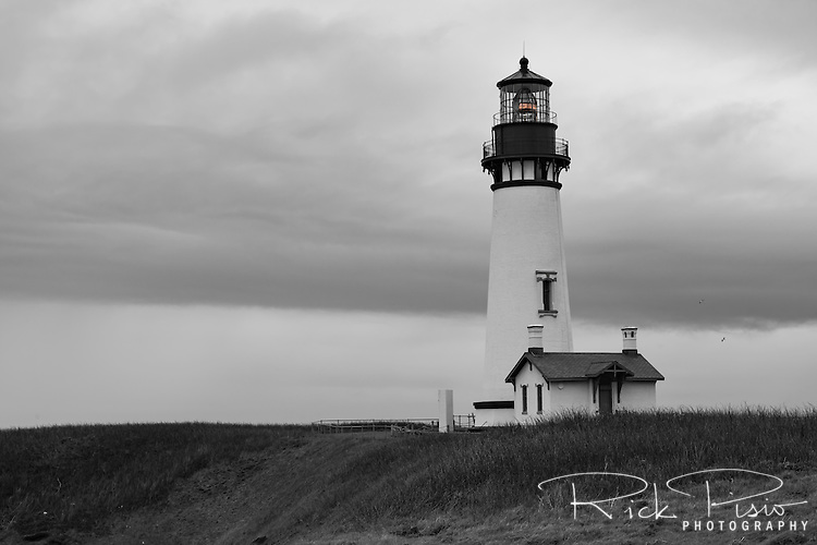 Yaquina Head Lighthouse stands near the town of Newport along Oregon's coastline.