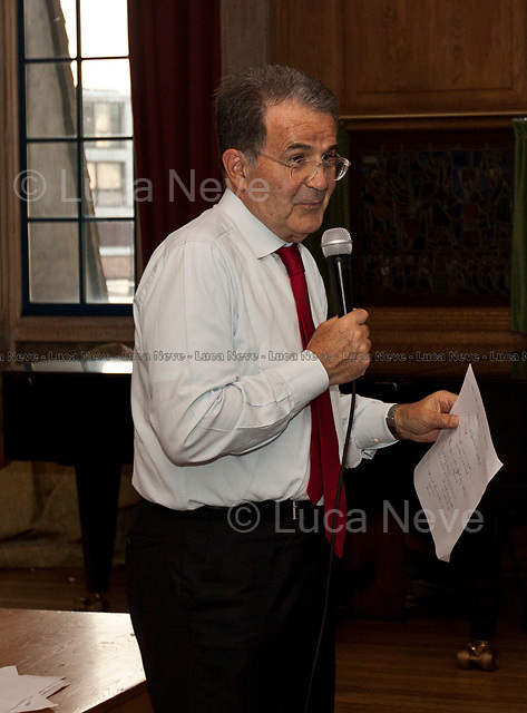 London, 02/06/2011. Romano Prodi (Statesman, former Italian Prime Minister and former President of the European Commission) gave a public lecture at LSE (London School of Economics) about the political and economic position of European between the two biggest economies in the contemporary world: United States and China. The meeting was organised by LSESU (LSE Student Union) Italian Society.