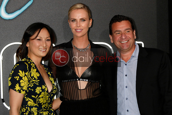 """Beth Kono, Charlize Theron, AJ Dix<br /> at the """"Atomic  Blonde"""" Premiere, Theater at the Ace Hotel, Los Angeles, CA 07-24-17<br /> David Edwards/DailyCeleb.com 818-249-4998"""