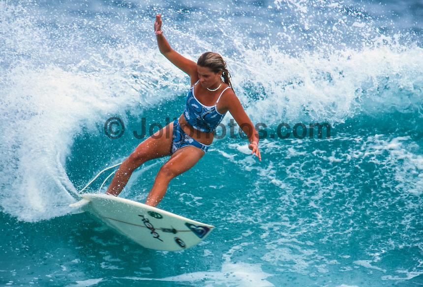 Professional surfer Melissa McDonald (AUS) during a free surf session at Currumbin Alley, Gold Coast, Queensland Australia. circa 1999 Photo: joliphotos