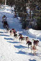 Musher DeeDee Jonrowe on Long Lake at the Re-Start of the 2011 Iditarod Sled Dog Race in Willow, Alaska.