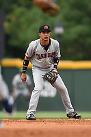 Shortstop Anderson Tejeda (1) of the Hickory Crawdads plays defense in a game against the Greenville Drive on Sunday, July 16, 2017, at Fluor Field at the West End in Greenville, South Carolina. Hickory won, 3-1. (Tom Priddy/Four Seam Images)
