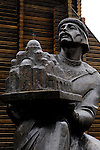 Stock photo of a Sculpture of Yaroslav The Wise - Jaroslav Mudryj Grand prince of Kyiv from 1019 The Monument located near The Golden Gate - Zoloti Vorota which was built by Yaroslav