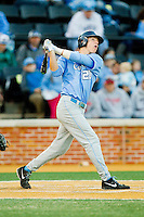 Skye Bolt (20) of the North Carolina Tar Heels follows through on his swing against the Wake Forest Demon Deacons at Wake Forest Baseball Park on March 9, 2013 in Winston-Salem, North Carolina.  The Tar Heels defeated the Demon Deacons 20-6.  (Brian Westerholt/Four Seam Images)