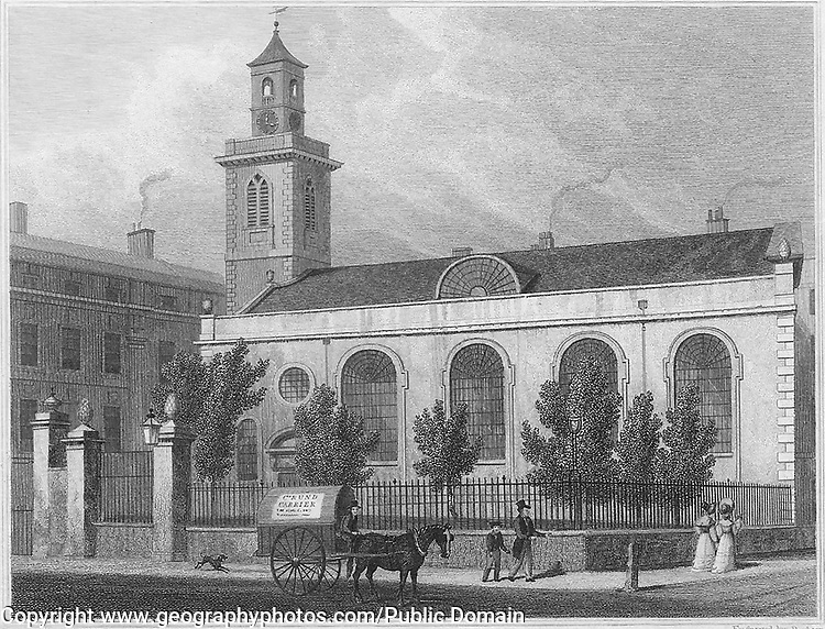 St Mary church, Aldermanbury, engraving 'Metropolitan Improvements, or London in the Nineteenth Century' London, England, UK 1828 , drawn by Thomas H Shepherd