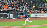 Norichika Aoki (Astros),<br /> JUNE 11, 2017 - MLB :<br /> Norichika Aoki of the Houston Astros runs to first base after hitting a single for his 2000th career hit in the sixth inning during the Major League Baseball game against the Los Angeles Angels of Anaheim at Minute Maid Park in Houston, Texas, United States. (Photo by AFLO)
