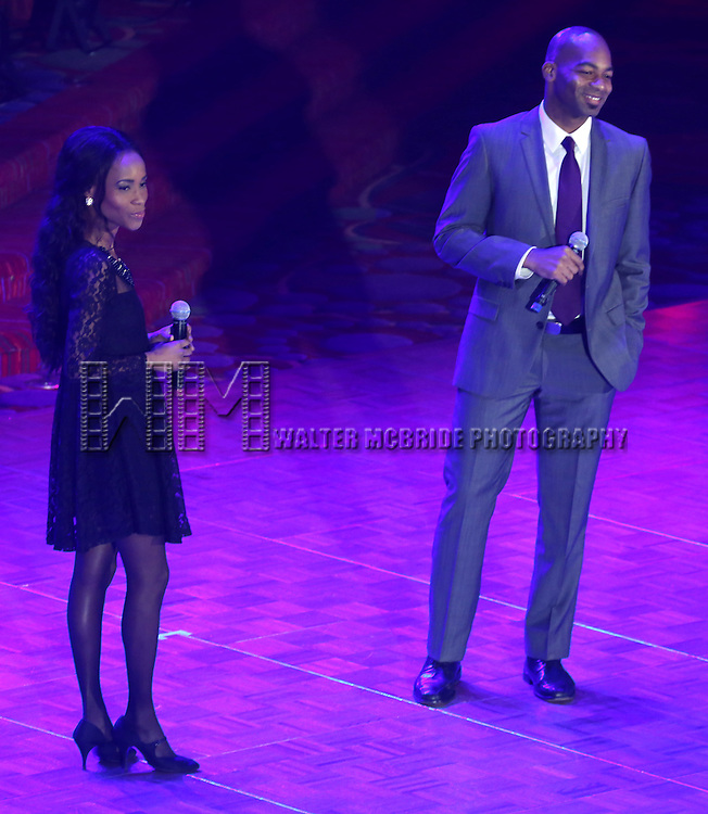 Valisia LeKae; Brandon Victor Dixon from 'Motown The Musical'  during the presentation of the 2013 Actors Fund Annual Gala honoring Robert De Niro at the Mariott Marquis Hotel in New York on 4/29/2013..