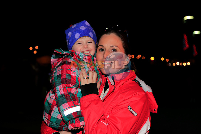 Niamh and Grainne Black santa arriving at scotch hall.<br /> Picture: Fran Caffrey www.newsfile.ie