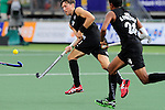 The Hague, Netherlands, June 10: Simon Child #6 of New Zealand passes the ball during the field hockey group match (Men - Group B) between New Zealand and The Netherlands on June 10, 2014 during the World Cup 2014 at Kyocera Stadium in The Hague, Netherlands. Final score 1-1 (0-1) (Photo by Dirk Markgraf / www.265-images.com) *** Local caption ***