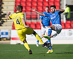 St Johnstone v St Mirren....04.10.14   SPFL<br /> Marc McAusland and Simon Lappin challenge for the ball<br /> Picture by Graeme Hart.<br /> Copyright Perthshire Picture Agency<br /> Tel: 01738 623350  Mobile: 07990 594431