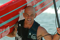 Tom Jones is jubilant upon his arrival at Ocean Beach, Saturday, November 3 2007.  Tom began paddling his 14ft paddle board along the length of the California coastline on August 4th in Crescent City California.  He plans to be the first person to paddle the entire coast and hopes to bring awareness to the problem of plastic pollution in our oceans along the way.  Ocean Beach was the second to last leg of the trip which was due to finish near the Mexican border in Imperial Beach on Sunday, November 4 2007.