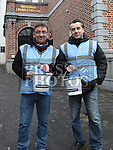 Paddy McQuillan and Andrea Sica collecting at the annual sleepout for Drogheda Homeless Aid. Photo:Colin Bell/pressphotos.ie