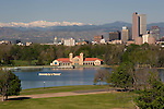 Downtown from Museum of Nature and Science, Mt Evans behind, Denver, Colorado. Private photo tours of Denver. .  John offers private photo tours in Denver, Boulder and throughout Colorado. Year-round Colorado photo tours.