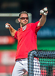 22 August 2015: Washington Nationals third base coach Bob Henley tosses batting practice prior to a game against the Milwaukee Brewers at Nationals Park in Washington, DC. The Nationals defeated the Brewers 6-1 in the second game of their 3-game weekend series. Mandatory Credit: Ed Wolfstein Photo *** RAW (NEF) Image File Available ***