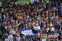BOGOTA - COLOMBIA - 6-09-2015:  Hinchas de Millonarios alientan a su equipo contra  Independiente Santa Fe durante partido  por la fecha 10 de la Liga Aguila II 2015 jugado en el estadio Nemesio Camacho El Campin. / Millonarios  fans cheer for their team against Inde   durendiente Santa Fe during  a match for the tenth  date of the Liga Aguila II 2015 played at Nemesio Camacho El Campin stadium in Bogota  city. Photo: VizzorImage / Felipe Caicedo / Staff.