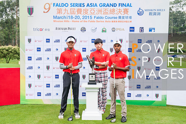 Group 14 poses for a portrait during the 9th Faldo Series Asia Grand Final 2014 golf tournament on March 18, 2015 at Faldo course in Mid Valley clubhouse in Shenzhen, China. Photo by Xaume Olleros / Power Sport Images