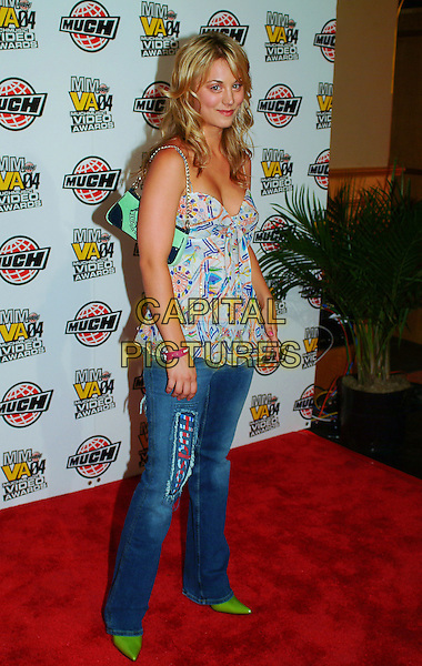 Kaley Cuoco .arrives at the MMVA After Party hosted by Maxim at Lucid Nightclub,  Toronto, Ontario, Canada, 20th June 2004..full length jeans print top  green pointed shoes bag  .half length jeans print top  green cami camisole .CAP/ADM/BPC.©Brent Perniac/AdMedia/Capital Pictures.