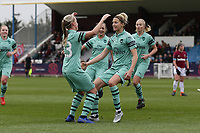 Janni Arnth of Arsenal scores the second goal for her team and celebrates during West Ham United Women vs Arsenal Women, FA Women's Super League Football at Rush Green Stadium on 6th January 2019