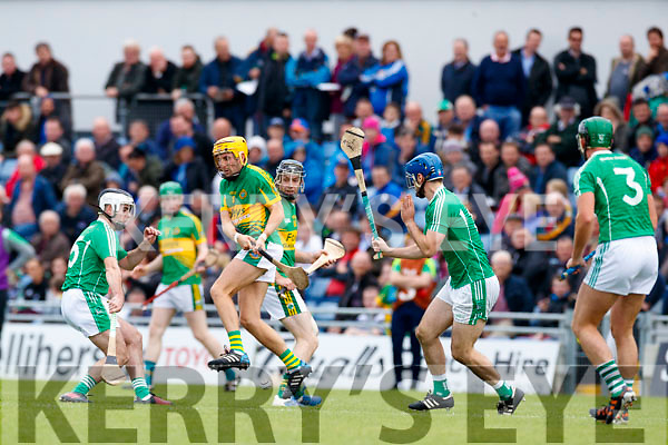David Goulding Ballyduff in action against John Griffin Lixnaw in the Senior County Hurling Final in Austin Stack Park on Sunday