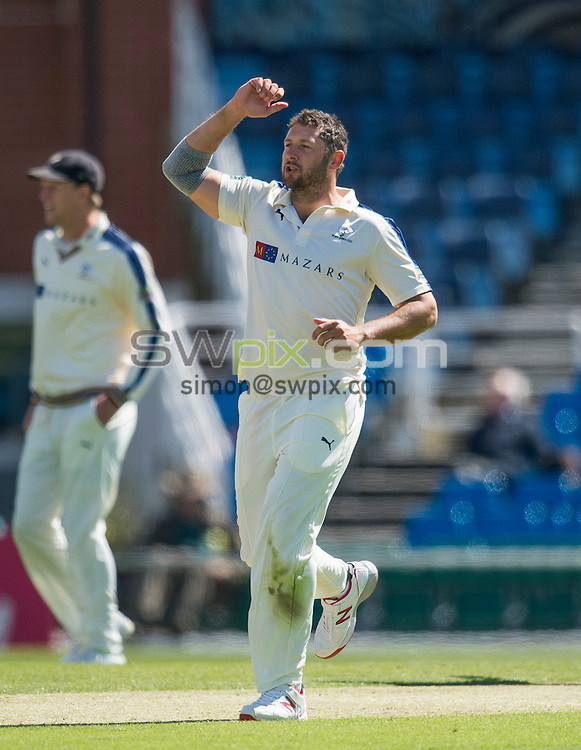 Picture by Allan McKenzie/SWpix.com - 26/04/2015 - Cricket - LV County Championship Div One - Yorkshire County Cricket Club v Warwickshire County Cricket Club - Headingley Cricket Ground, Leeds, England - Yorkshire's Tim Bresnan reacts to a delivery.